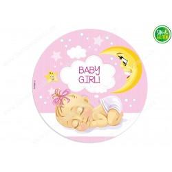 Oblea para tarta Bebé Niña