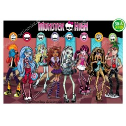 Oblea para tarta Monster High