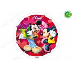 Oblea para tarta de Mickey y minnie enamorados