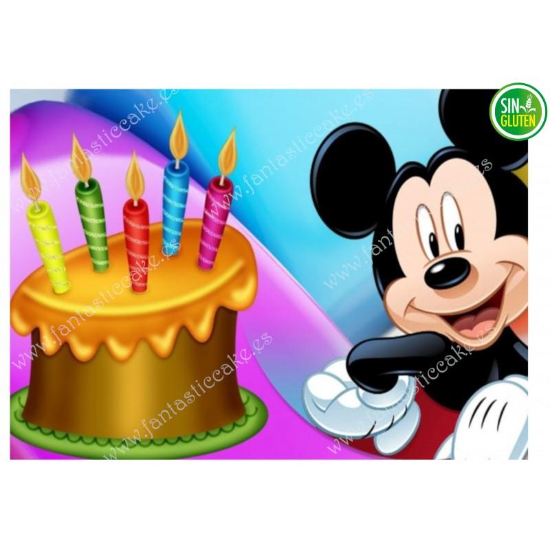 OBLEA PARA TARTA DE MICKEY CON TARTA DE CUMPLEAÑOS - SIN GLUTEN - FANTASTIC CAKE