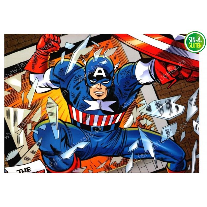 Oblea para tarta rectangular Capitán América - SIN GLUTEN - FANTASTIC CAKE