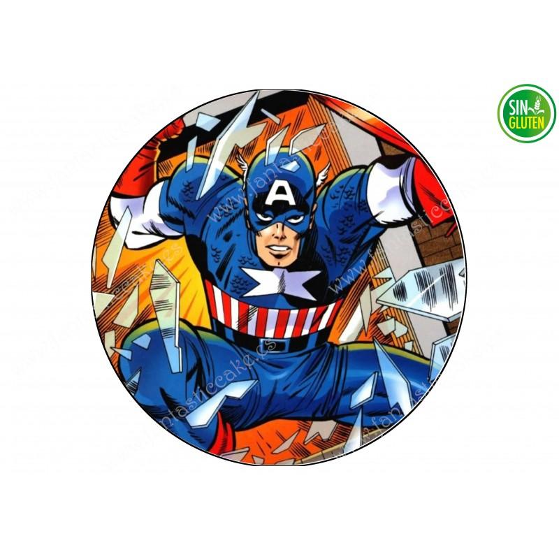Oblea para tarta redonda Capitán América  - PAPEL DE AZÚCAR -SIN GLUTEN - FANTASTIC CAKE