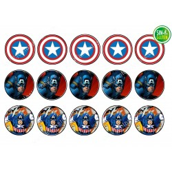 Oblea para galletas Capitán América - PAPEL DE AZÚCAR - SIN GLUTEN - FANTASTIC CAKE