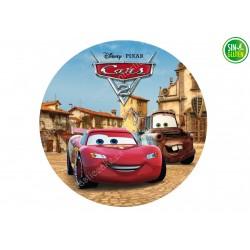 Oblea redonda para Tarta Cars y Mate Desierto - PAPEL DE AZÚCAR DE CARS - SIN GLUTEN - FANTASTIC CAKE