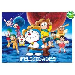 Oblea para tarta rectangular Doraemon - PAPEL DE AZÚCAR para tarta rectangular Doraemon - SIN GLUTEN - FANTASTIC CAKE