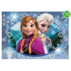 Oblea para tarta rectangular Frozen, Elsa y Copos de nieve -PAPEL DE AZUCAR para tarta rectangular Frozen, Elsa y Copos de nieve