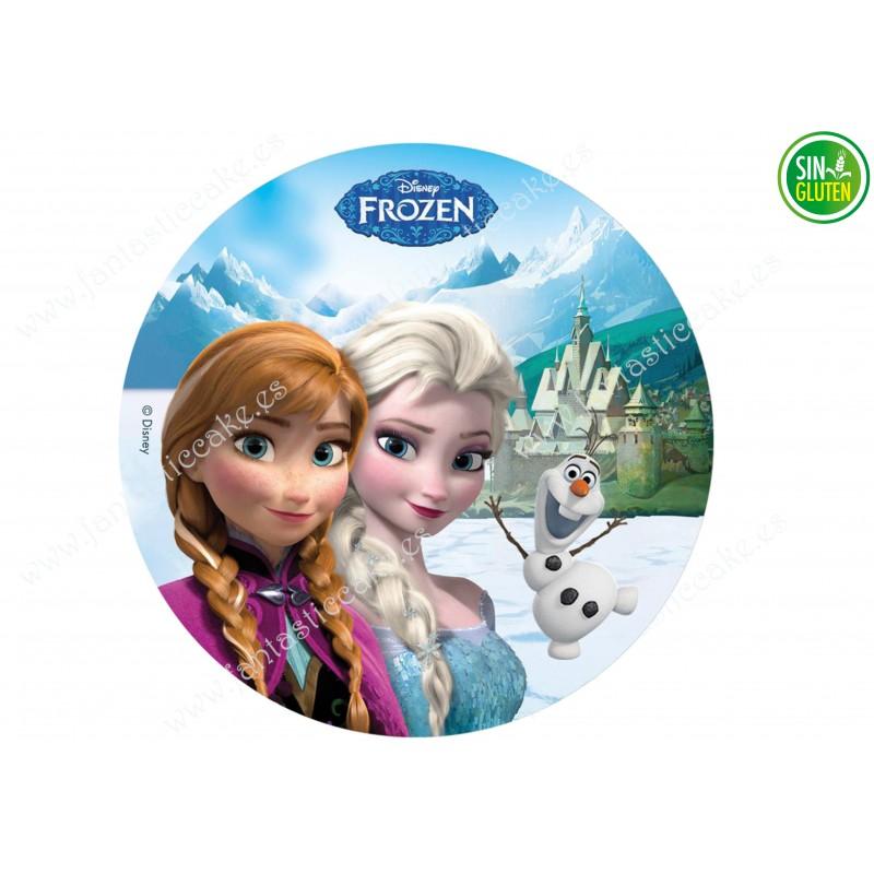 Oblea comestible Frozen, Olaf, Elsa y Anna - PAPEL DE AZÚCAR Frozen, Olaf, Elsa y Anna - SIN GLUTEN - FANTASTIC CAKE
