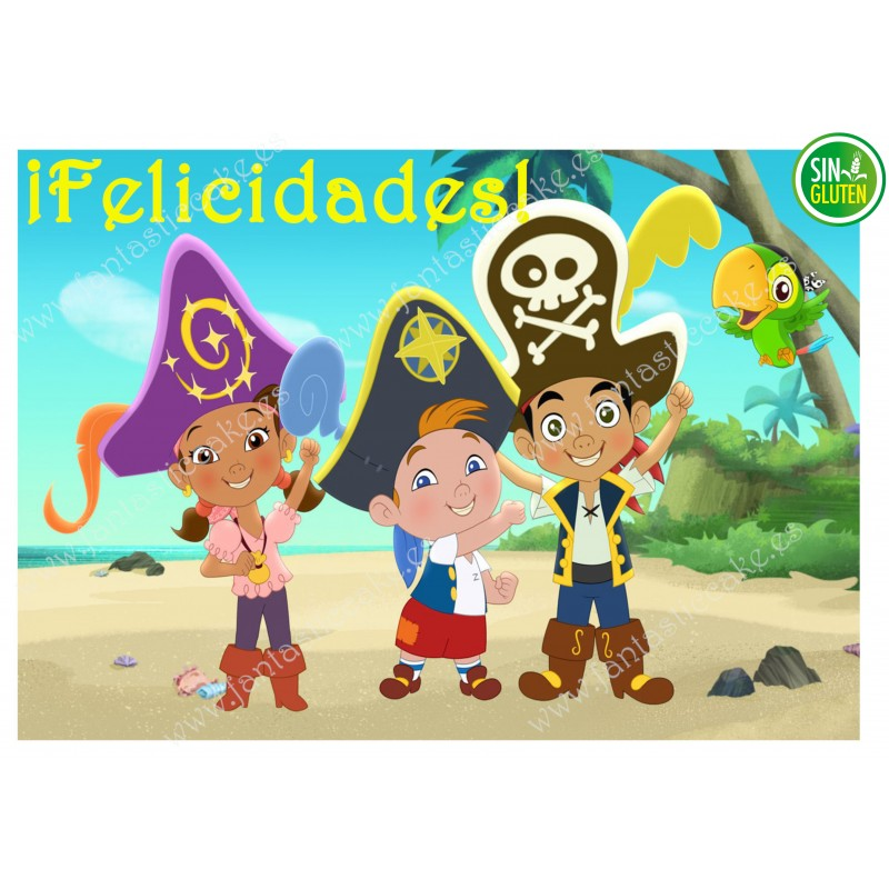Oblea para tarta Rectangular Jake y los Piratas - papel de azúcar para tarta Rectangular Jake y los Piratas - sin gluten
