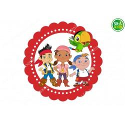 Oblea para tarta redonda Jake y Los Piratas - papel de azúcar para tarta redonda Jake y Los Piratas - Sin gluten