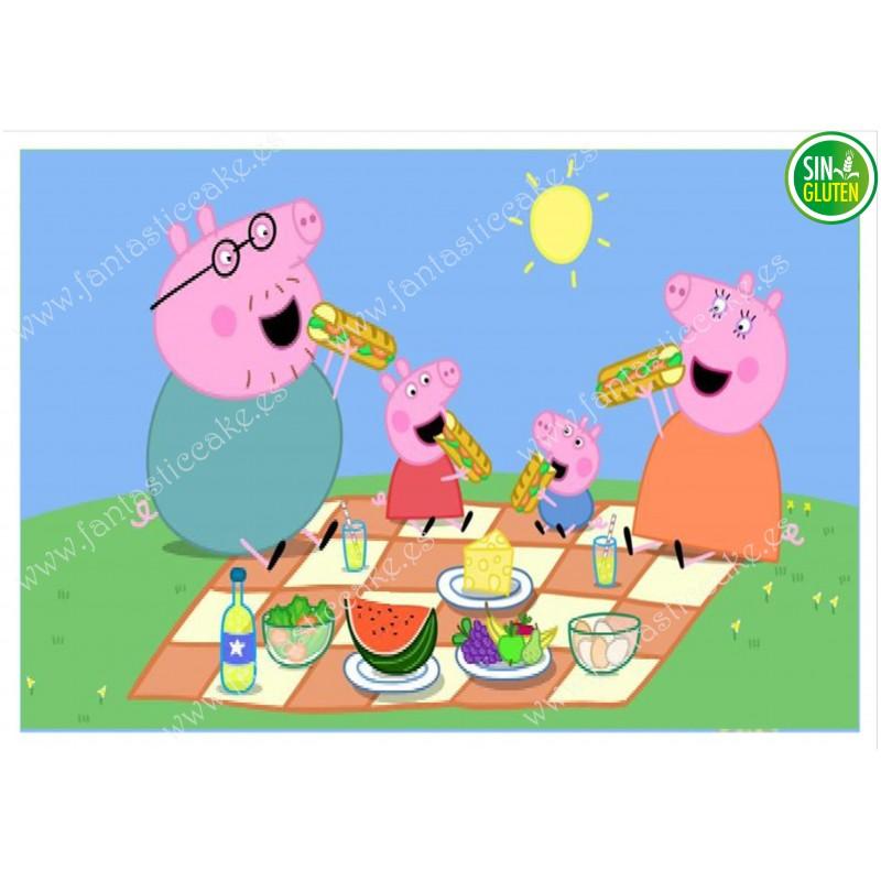 Impresión para tarta Familia Peppa Pig Camping - papel de azúcar para tarta Familia Peppa Pig Camping - sin gluten