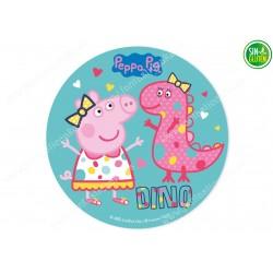 Oblea para tarta Peppa Pig con Dino - papel de azúcar para tarta Peppa Pig con Dino - sin gluten - Fantastic Cake