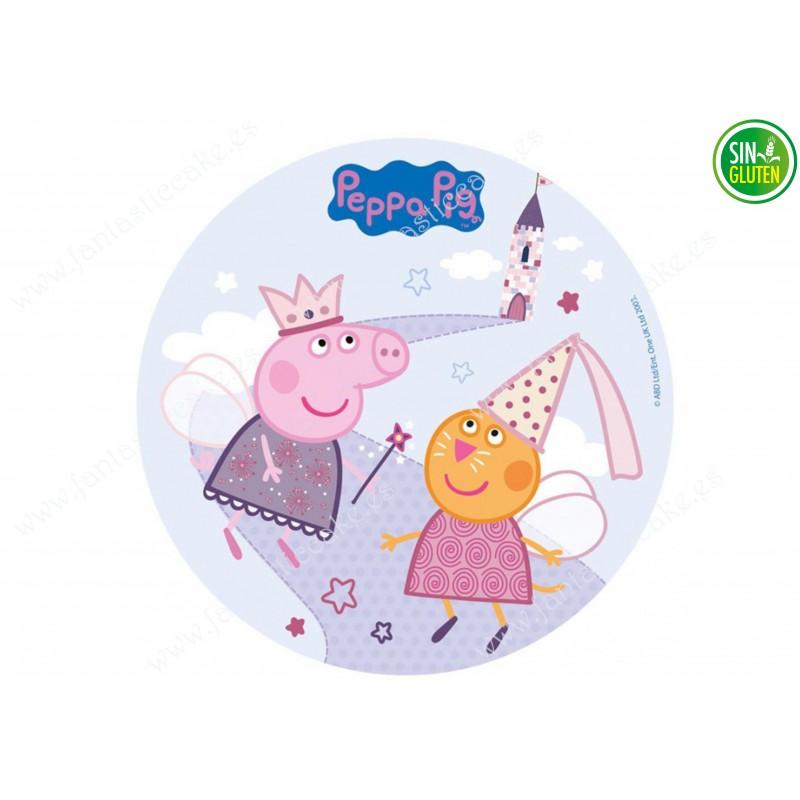 Oblea para tarta Peppa Pig y Hada Madrina - papel de azúcar para tarta Peppa Pig y Hada Madrina - sin gluten