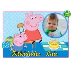 Foto - Oblea para tarta Peppa Pig y George Nº 581