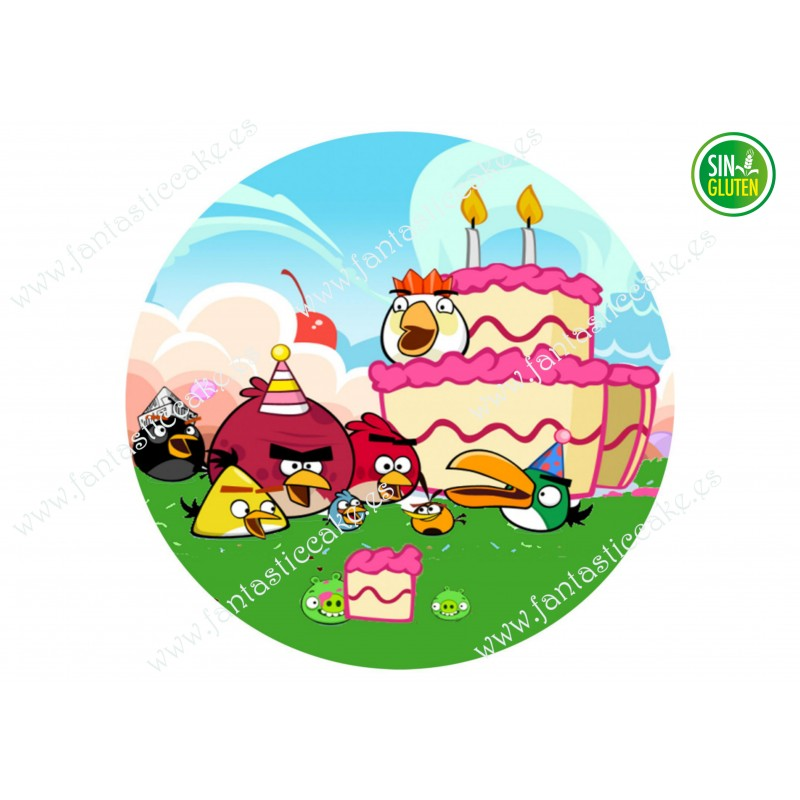Oblea Angry Birds para tarta redonda Nº 643