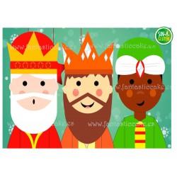 Oblea rectangular Reyes Magos para tarta Nº 726