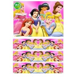 Papel de azúcar y Cenefas de Las Princesas para tartas
