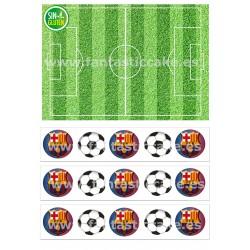 Papel de azúcar y Cenefas FC Barcelona y Campo de Fútbol para tartas