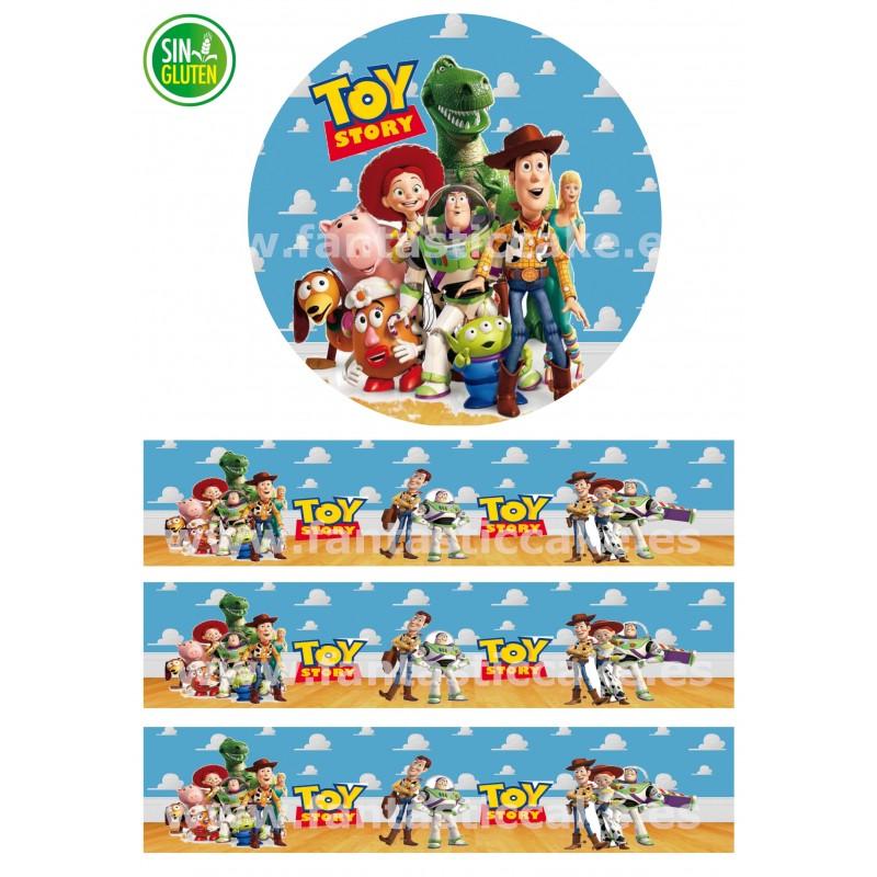 Papel de azúcar redondo Toy Story y Cenefas para tartas