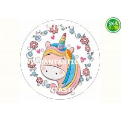 Oblea Unicornio con flores...