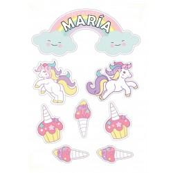 Toppers Unicornios Personalizado