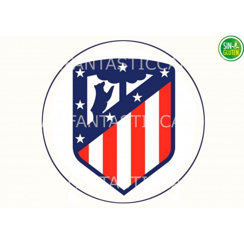 Oblea para tarta Fútbol Club Atlético de Madrid - papel de azúcar para tarta Fútbol Club Atlético de Madrid - Sin gluten