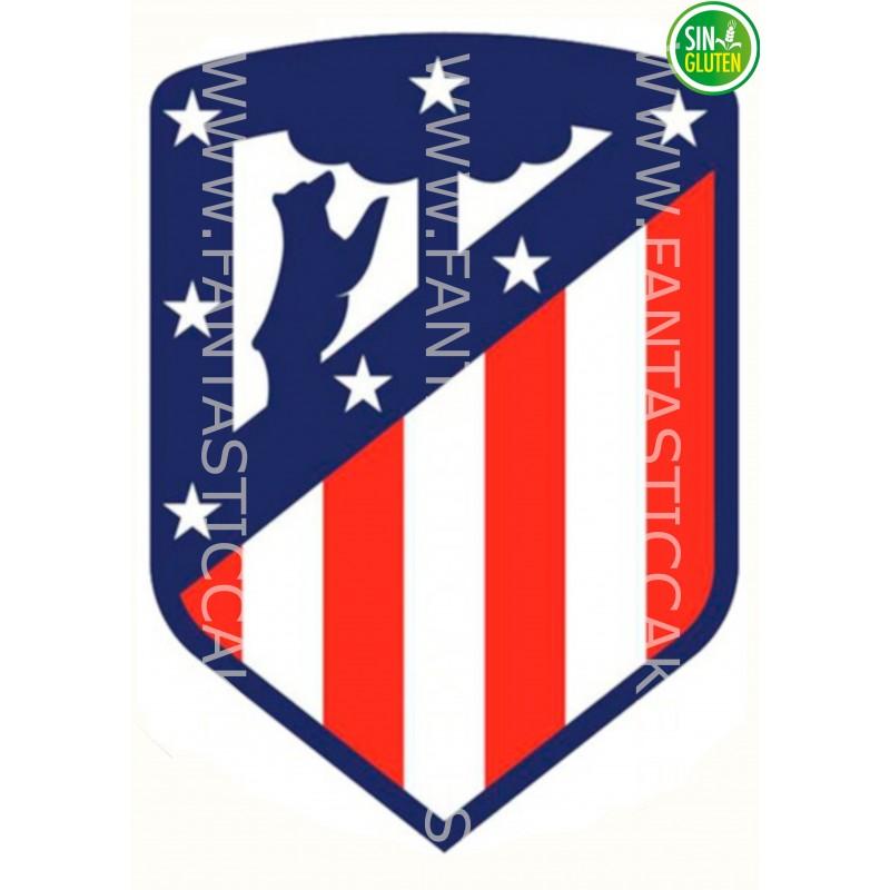 Oblea para tarta Club Atlético de Madrid - papel de azúcar para tarta Club Atlético de Madrid Rectangular - sin gluten