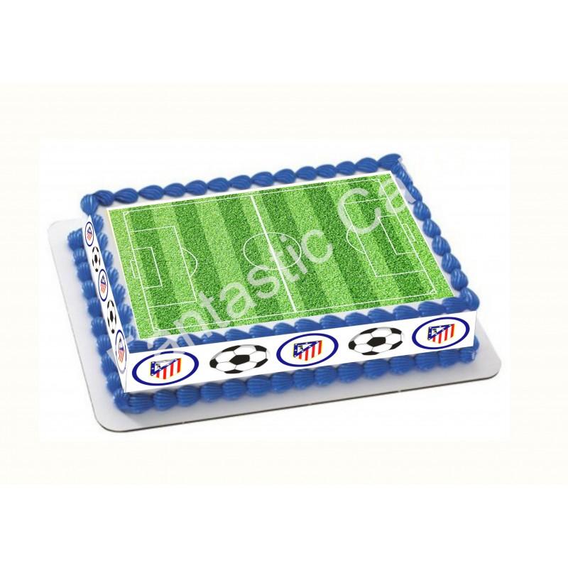 Papel de azúcar Atlético de Madrid y Campo de fútbol para tartas