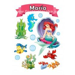 Topper LA Sirenita Personalizado con nombre