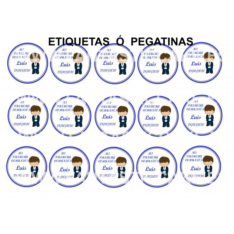 Etiquetas Comunión Niño Castaño Nº 687 personalizada