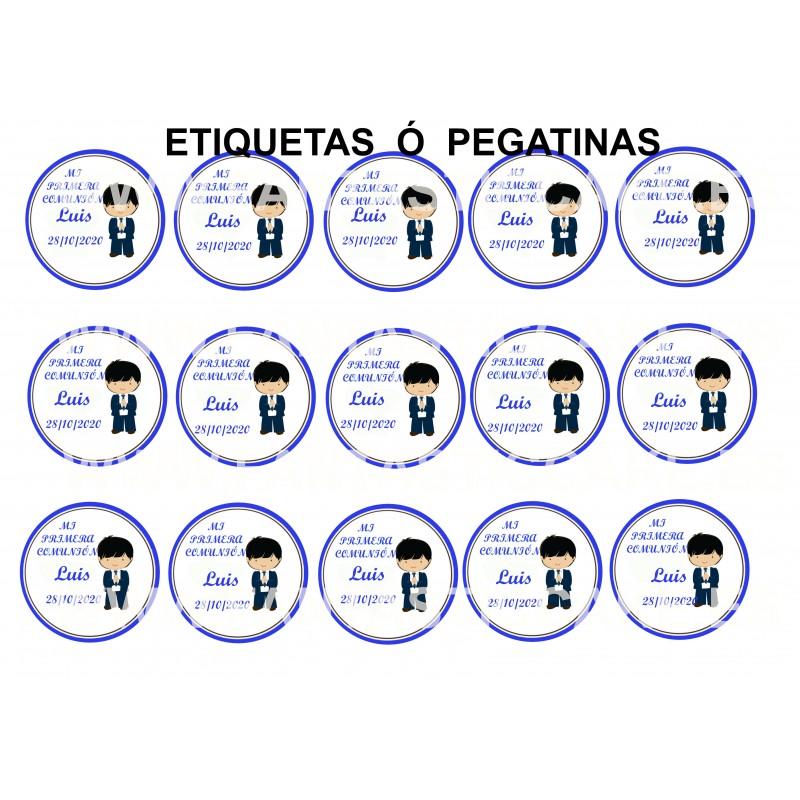 Etiquetas Comunión Niño Moreno Nº 688 personalizada