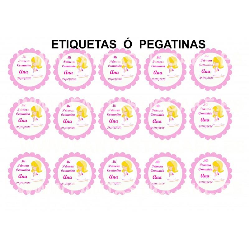 Etiquetas Comunión Niña rubia Nº 704 personalizada