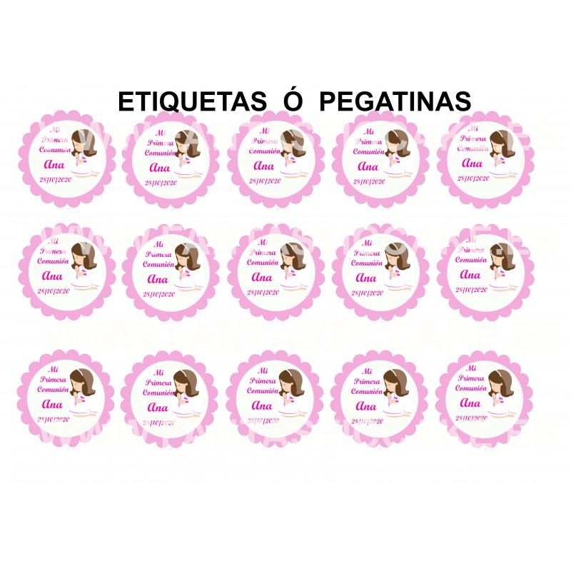 Etiquetas Comunión Niña castaña Nº 708 personalizada