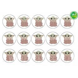 Oblea Baby Yoda para Galletas Nº 1022