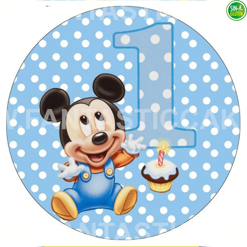 Oblea impresa para tarta de Mickey Bebé Nº 33