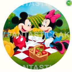 Oblea Mickey y Minnie picnic para tarta Nº 972